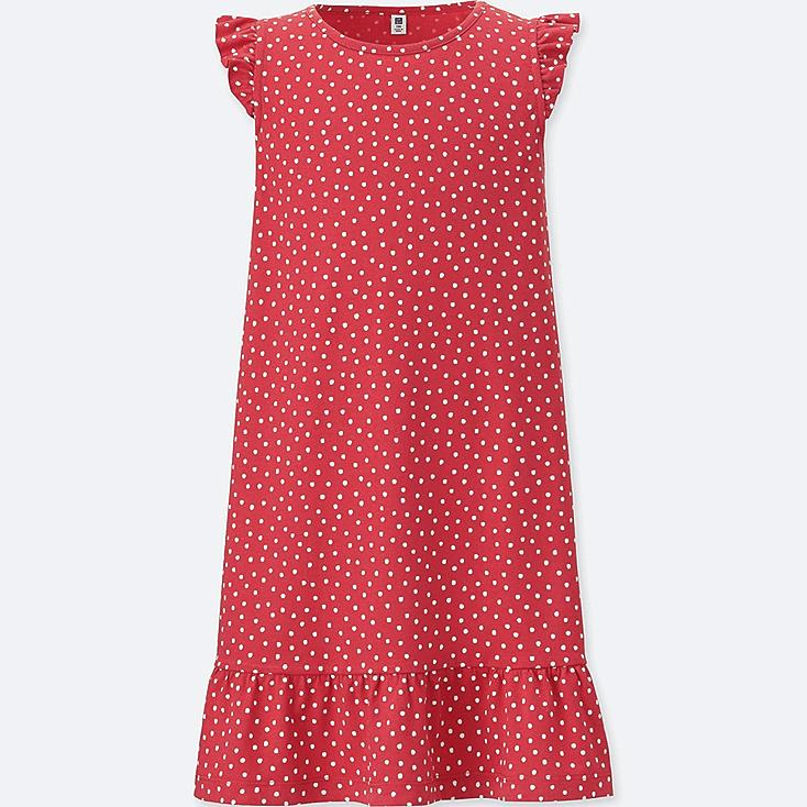 GIRLS PRINTED JERSEY SLEEVELESS DRESS, RED, large