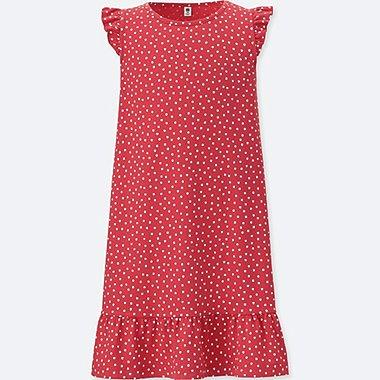 GIRLS PRINTED JERSEY SLEEVELESS DRESS, RED, medium
