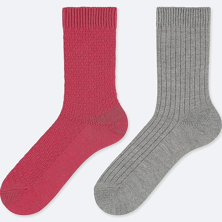 WOMEN HEATTECH PIQUE SOCKS (2 PAIRS), RED, large