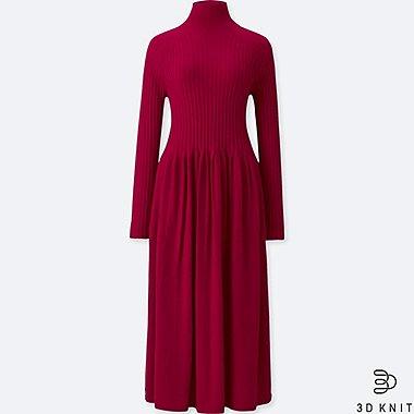 WOMEN 3D KNIT EXTRA FINE MERINO WOOL LONG SLEEVED DRESS
