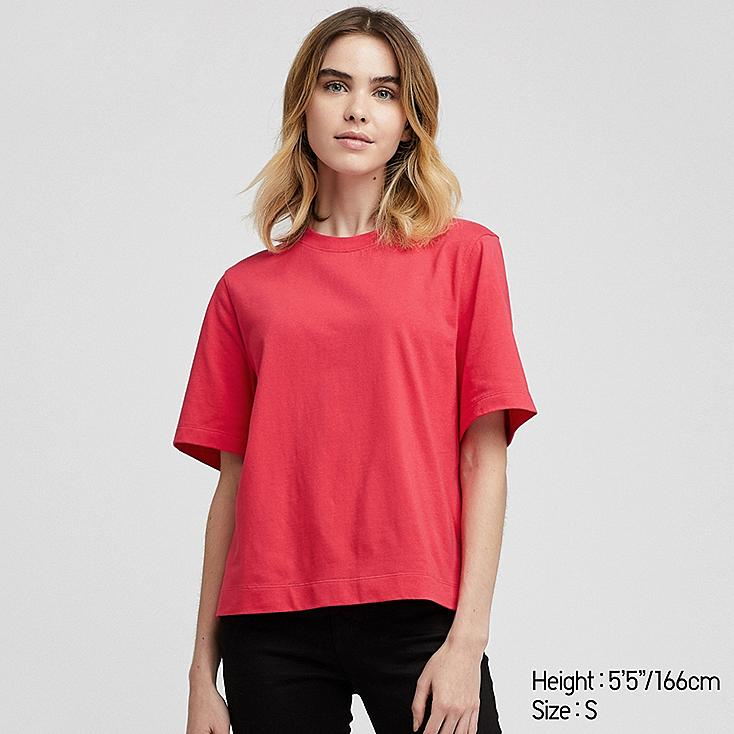WOMEN CROPPED CREW NECK SHORT-SLEEVE T-SHIRT, RED, large