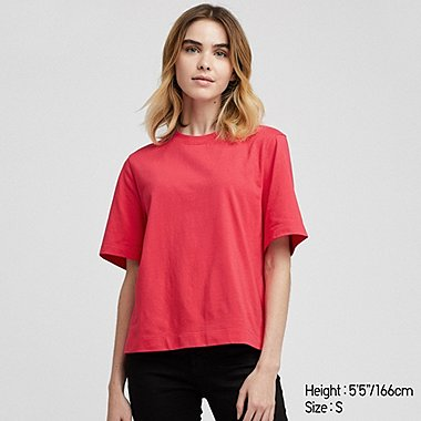 WOMEN CROPPED CREW NECK SHORT-SLEEVE T-SHIRT, RED, medium
