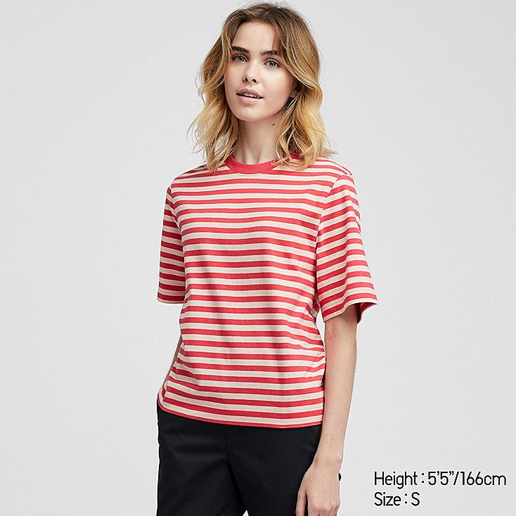 WOMEN STRIPED CROPPED CREW NECK SHORT-SLEEVE T-SHIRT, RED, large