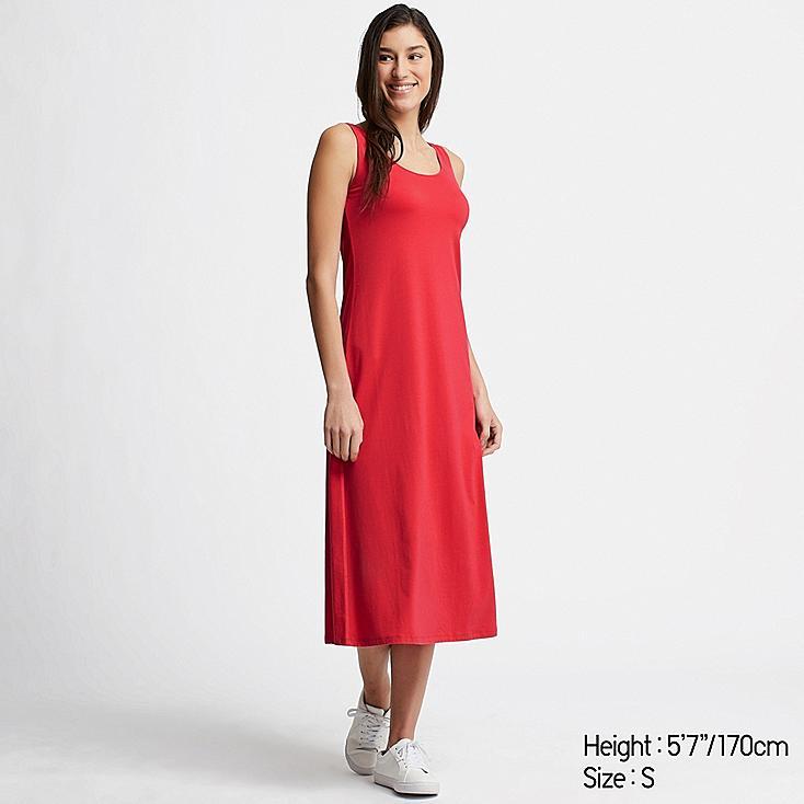 WOMEN SLEEVELESS LONG BRA DRESS, RED, large