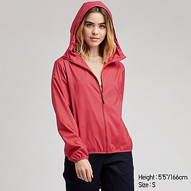WOMEN UV CUT HOODED POCKETABLE PARKA