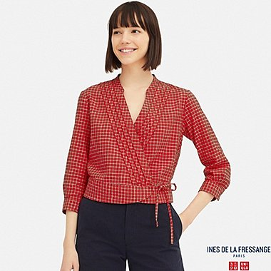 WOMEN LINEN COTTON WRAP 3/4 SLEEVE BLOUSE (INES DE LA FRESSANGE), RED, medium