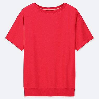 WOMEN ULTRA STRETCH SHORT-SLEEVE TUNIC T-SHIRT, RED, medium