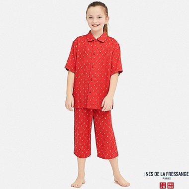 KIDS INES RAYON FLOWER PRINT SHORT SLEEVED PYJAMAS