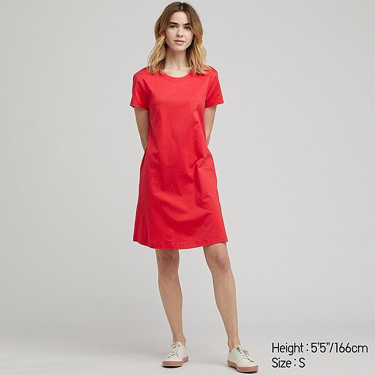 WOMEN MERCERIZED COTTON A-LINE MINI DRESS, RED, large