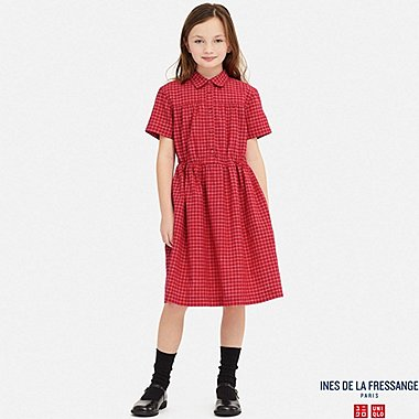 GIRLS LINEN COTTON TUCK SHORT-SLEEVE DRESS (INES DE LA FRESSANGE), RED, medium