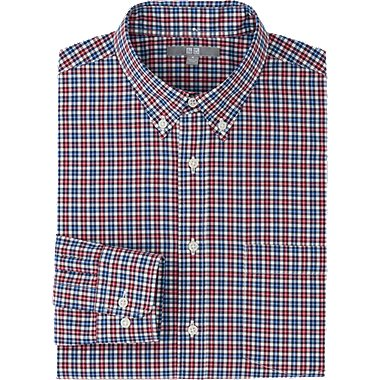 MEN EXTRA FINE COTTON BROADCLOTH CHECK LONG SLEEVE SHIRT, RED, medium