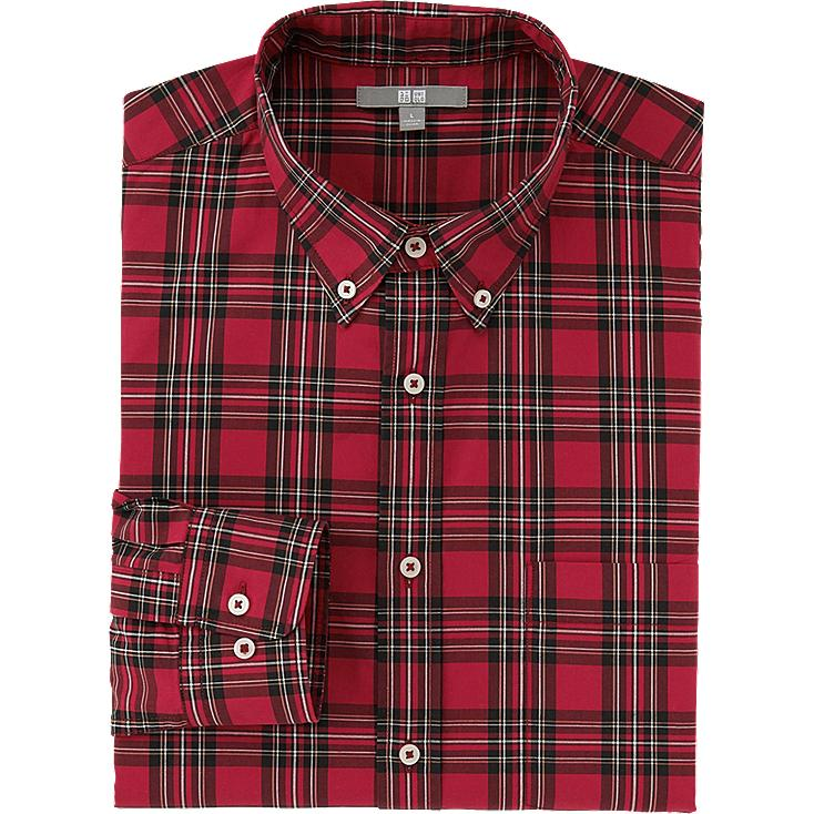 MEN EXTRA FINE COTTON BROADCLOTH CHECKERED LONG SLEEVE SHIRT, RED, large