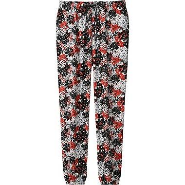 Womens Draped Multi Flower Print Pants, RED, medium