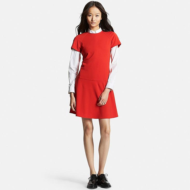 Women's Ponte Flared Dress, RED, large