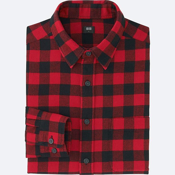 Men flannel buffalo check long sleeve shirt uniqlo us for Buffalo check flannel shirt