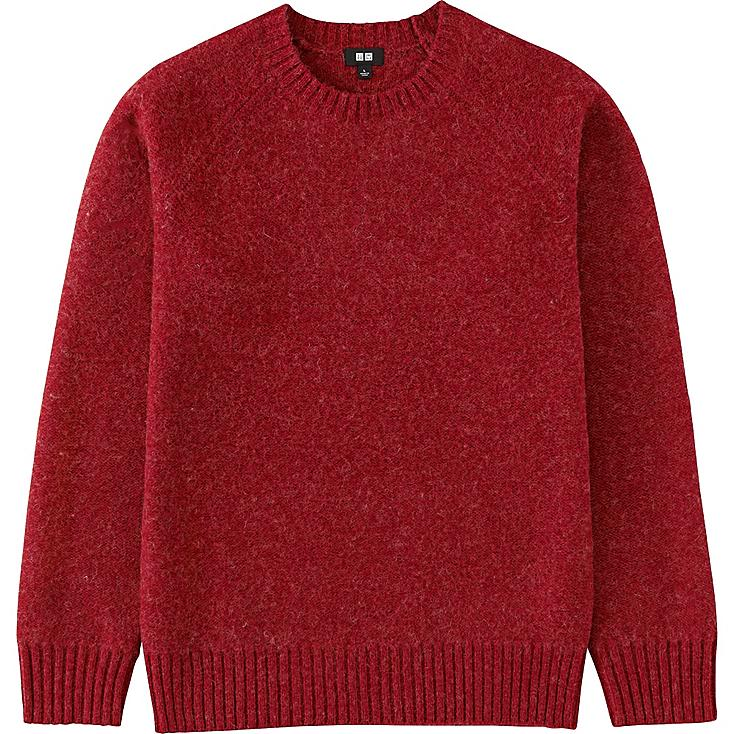 MEN BOILED WOOL CREWNECK SWEATER, RED, large