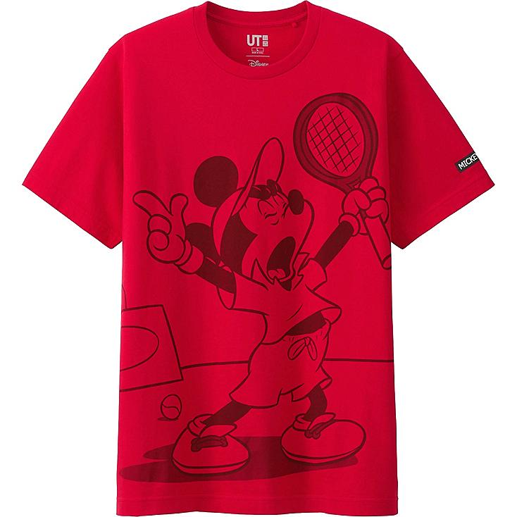 MEN MICKEY PLAYS SHORT SLEEVE GRAPHIC T-SHIRT, RED, large