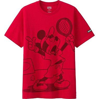 MEN MICKEY PLAYS SHORT SLEEVE GRAPHIC T-SHIRT, RED, medium