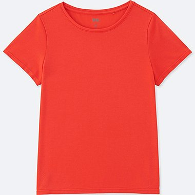 WOMEN DRY-EX CREWNECK SHORT-SLEEVE T-SHIRT, RED, medium