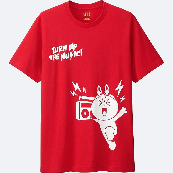 MEN LINE FRIENDS SHORT-SLEEVE GRAPHIC T-SHIRT, RED, large