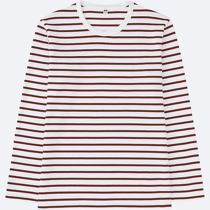 MEN WASHED STRIPED LONG SLEEVE T-SHIRT, RED, large