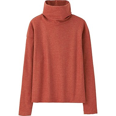 WOMEN HEATTECH FLEECE OFF TURTLENECK LONG-SLEEVE T-SHIRT, RED, medium