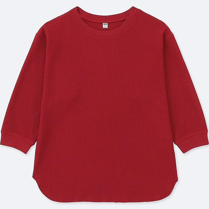 WOMEN WAFFLE CREW NECK 3/4 SLEEVE T-SHIRT, RED, large