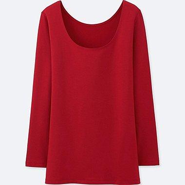 WOMEN HEATTECH EXTRA WARM SCOOP NECK T-SHIRT, RED, medium
