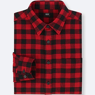 MEN FLANNEL CHECKED LONG-SLEEVE SHIRT, RED, medium