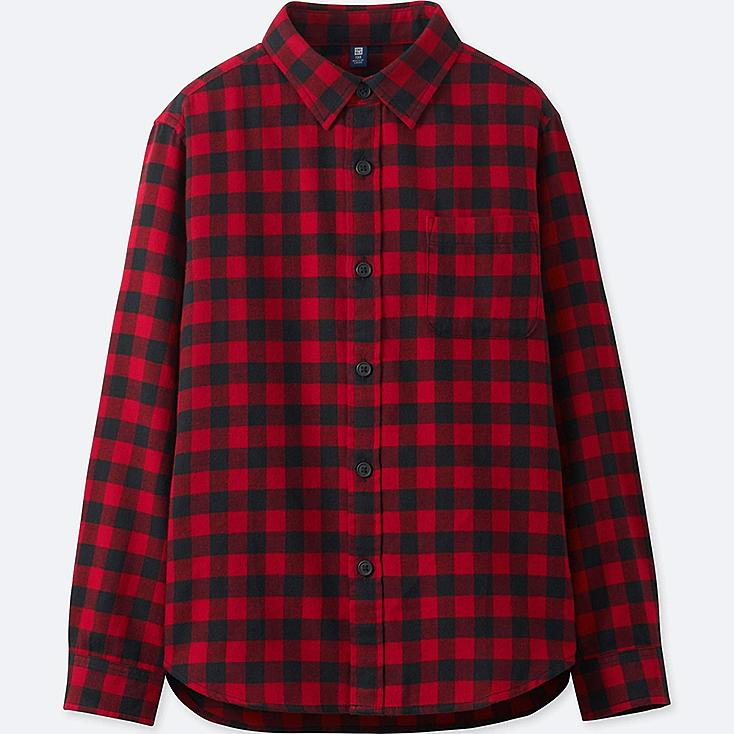 BOYS FLANNEL CHECK LONG-SLEEVE SHIRT, RED, large