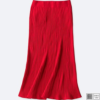 WOMEN UNIQLO U 3D PRINTED MERINO RIBBED SKIRT