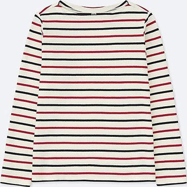 WOMEN STRIPED BOAT NECK LONG SLEEVE T-SHIRT