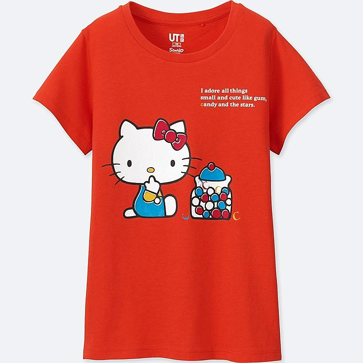 GIRLS SANRIO CHARACTERS GRAPHIC T-SHIRT, RED, large
