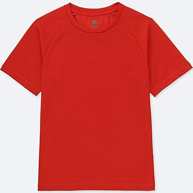 KIDS DRY-EX CREWNECK T-SHIRT, RED, medium