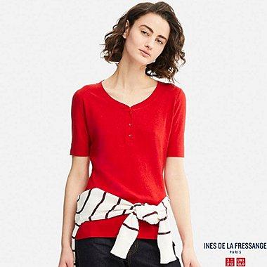 WOMEN IDLF LINEN HENLEY NECK SHORT-SLEEVE T-SHIRT, RED, medium