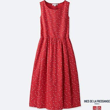 WOMEN IDLF LINEN BLEND A-LINE SLEEVELESS DRESS, RED, medium