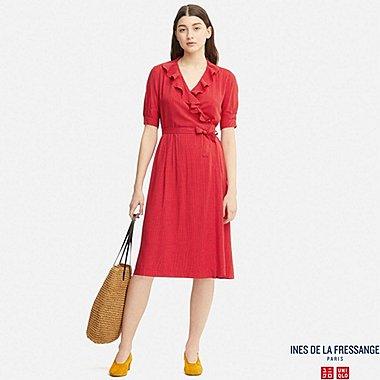 WOMEN IDLF RAYON WRAP-FRONT SHORT-SLEEVE DRESS, RED, medium
