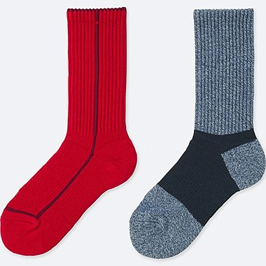 WOMEN HEATTECH LINE SPORTS SOCKS (2 PAIRS), RED, medium