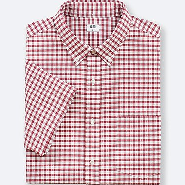MEN DRY SEERSUCKER CHECKED SHORT-SLEEVE SHIRT, RED, medium