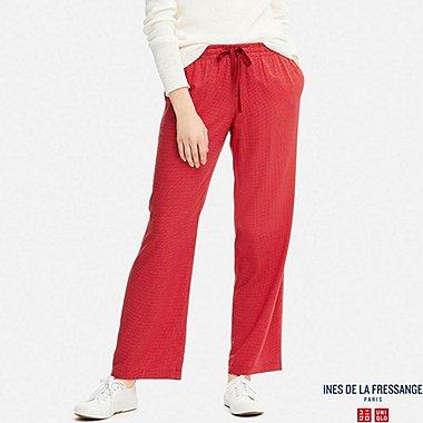 WOMEN IDLF STRIPED LINEN RAYON PANTS, RED, medium