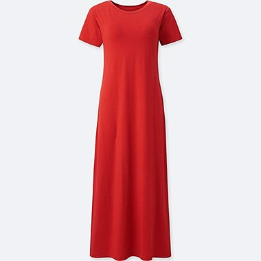 WOMEN SHORT-SLEEVE LONG BRA DRESS, RED, medium
