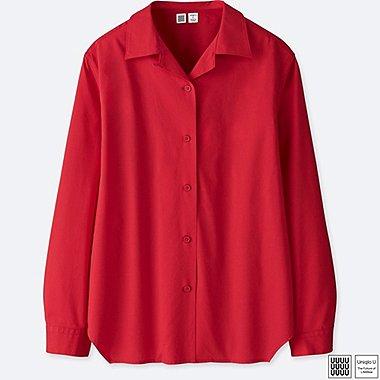 WOMEN U OPEN COLLAR LONG-SLEEVE SHIRT, RED, medium