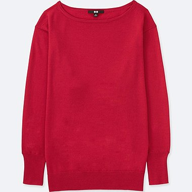 WOMEN EXTRA FINE MERINO BOXY BOAT NECK SWEATER, RED, medium