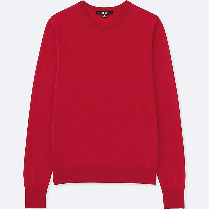WOMEN EXTRA FINE MERINO CREW NECK SWEATER, RED, large