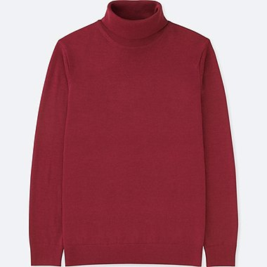 MEN EXTRA FINE MERINO TURTLENECK LONG-SLEEVE SWEATER, RED, medium