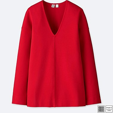 WOMEN UNIQLO U PONTE KNIT V NECK SWEATSHIRT TOP