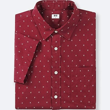 MEN BROADCLOTH PRINTED SHORT-SLEEVE SHIRT, RED, medium
