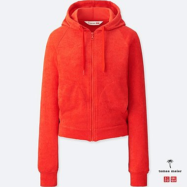 WOMEN AIRism PILE LOUNGE LONG-SLEEVE HOODIE, RED, medium