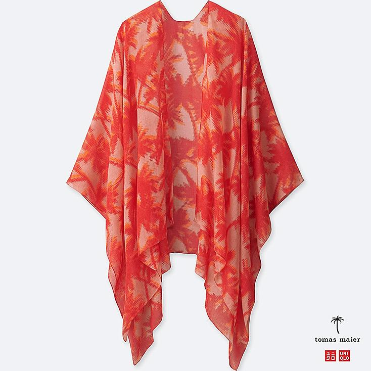 WOMEN PALM-PRINT STOLE, RED, large