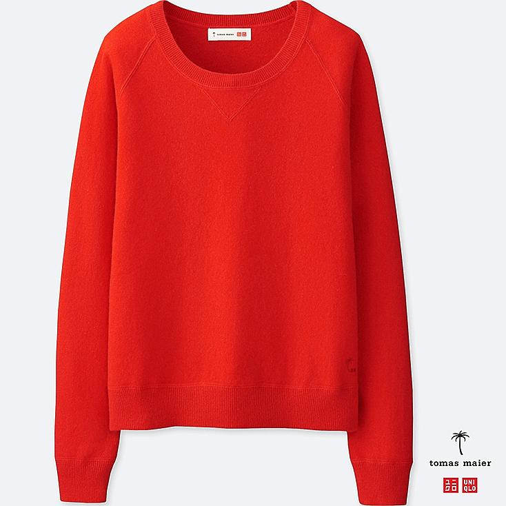 WOMEN CASHMERE CREWNECK SWEATER, RED, large